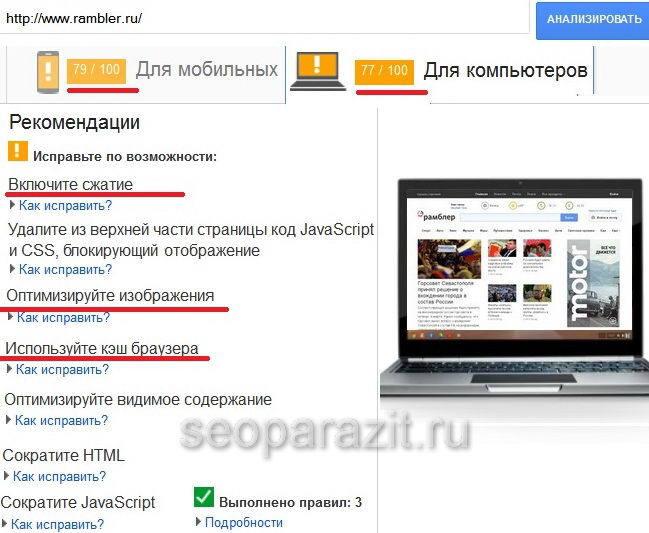 Оптимизация скорости загрузки страницы сайта