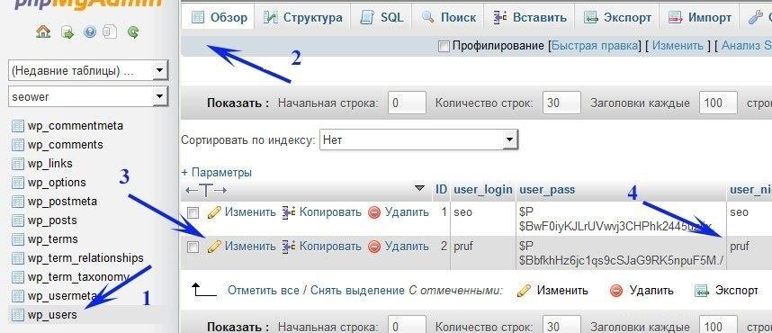 как изменить пароль редактируем бд